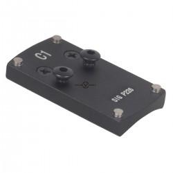 montage, embase, platine montage point rouge hk usp, glock et p226